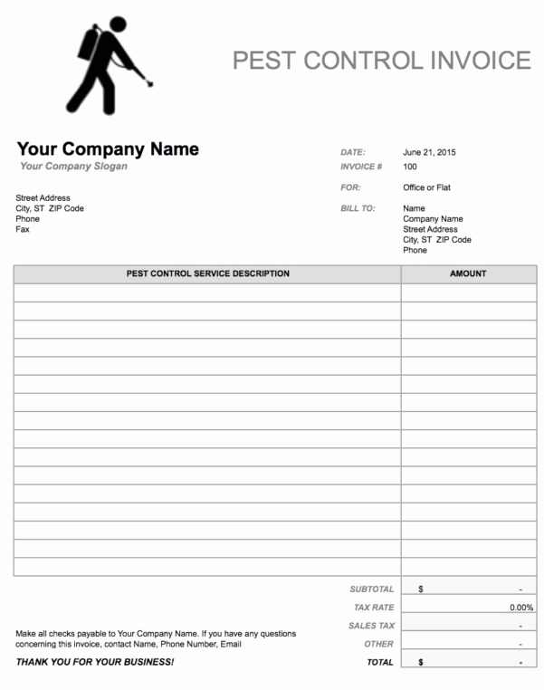 Pest Control Invoice Template Beautiful Hourly Invoice Template Spreadsheet Templates for Busines