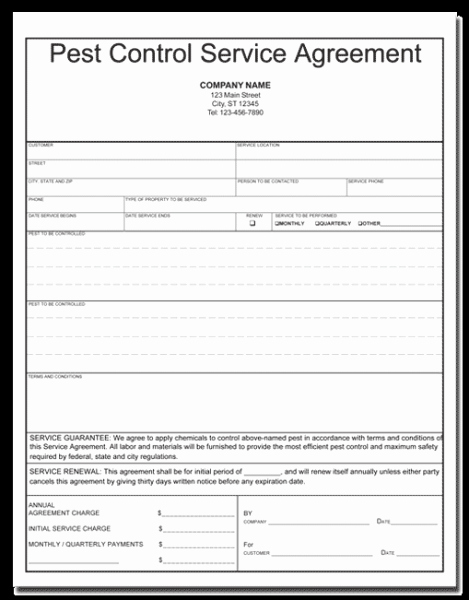 Pest Control Invoice Template Best Of Pest Control Contract Template