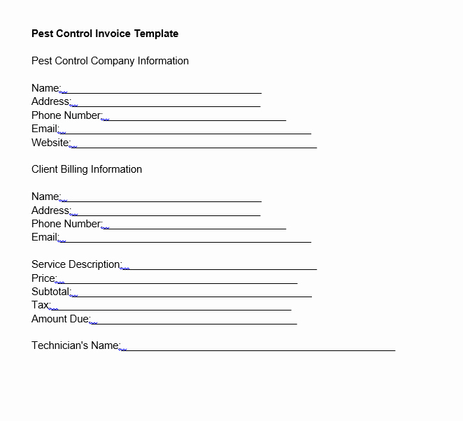 Pest Control Invoice Template Best Of Pest Control Invoice Template Free Download