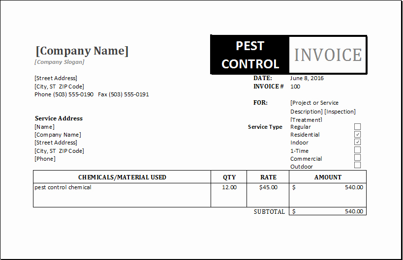 Pest Control Invoice Template Elegant Graphy Invoice Template for Excel