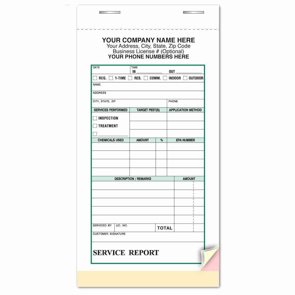 Pest Control Invoice Template Elegant Pest Control Service Report Invoice Wrap Around Ticket Book
