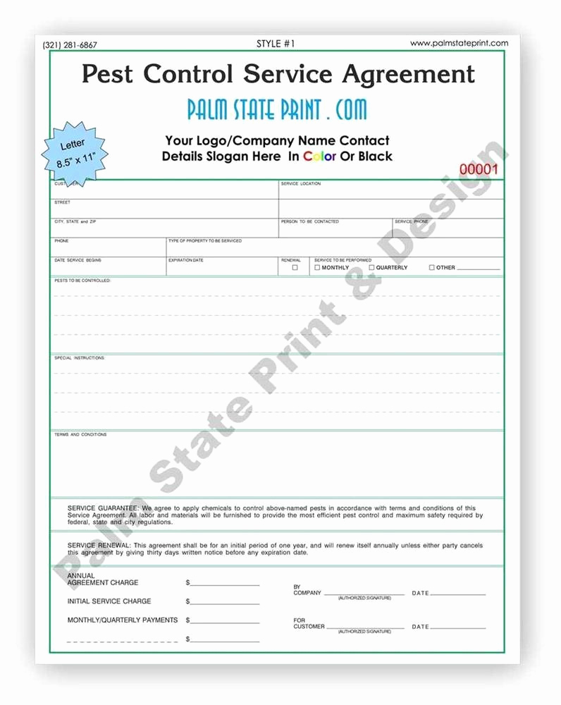 Pest Control Invoice Template Lovely 250 2 Part Pest Control Inspection Service Agreement