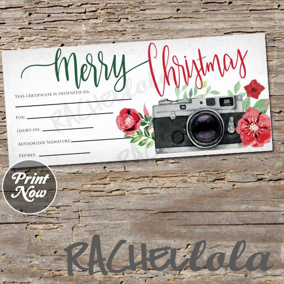 Photo Gift Certificate Template Awesome Christmas Camera Printable Gift Certificate Template