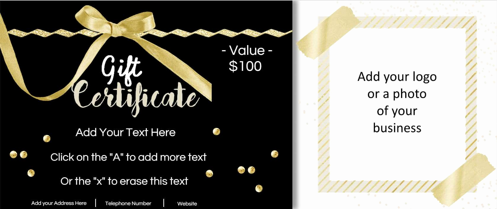 Photo Gift Certificate Template Beautiful Gift Certificate Template with Logo