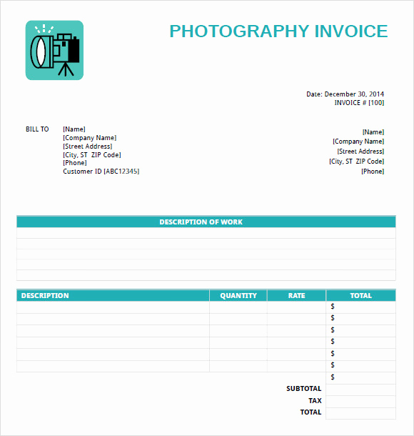 Photography Invoice Template Word Beautiful Free 11 Graphy Invoice Templates In Free Samples