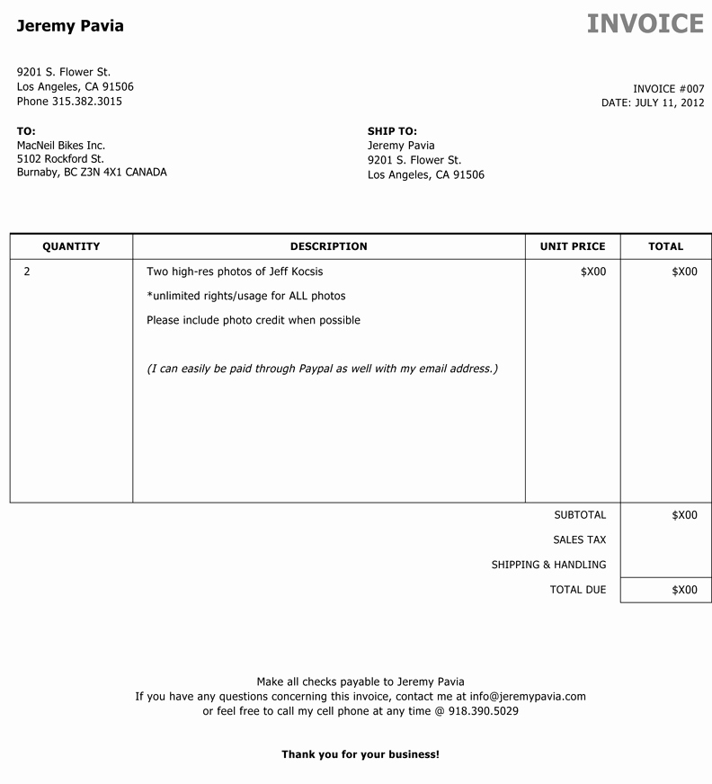 Photography Invoice Template Word Elegant Through the Lens How to Sell A and Deliver the