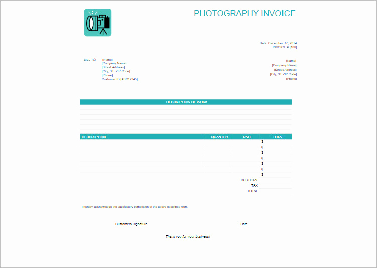 Photography Invoice Template Word Fresh Graphy Invoice Template Word Document