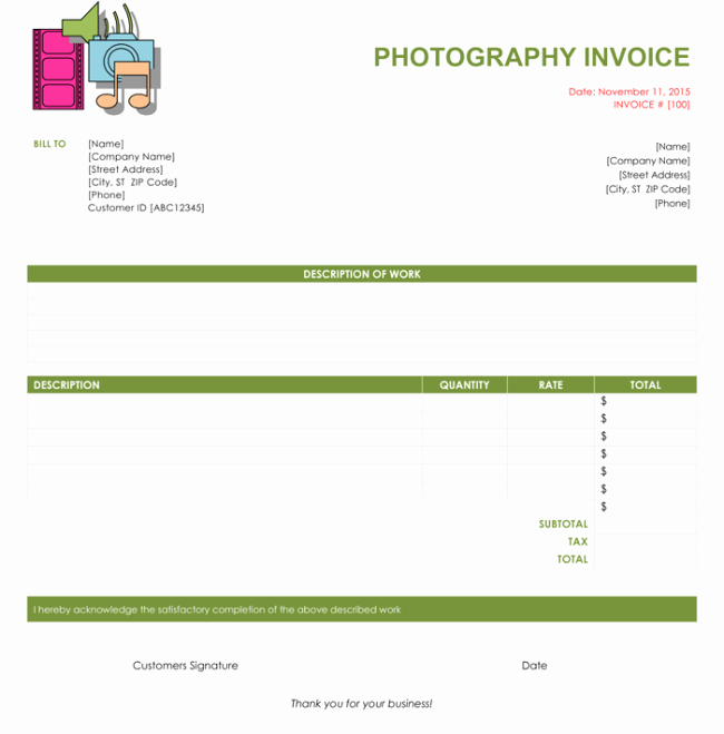 Photography Invoice Template Word New Graphy Invoice Template Word