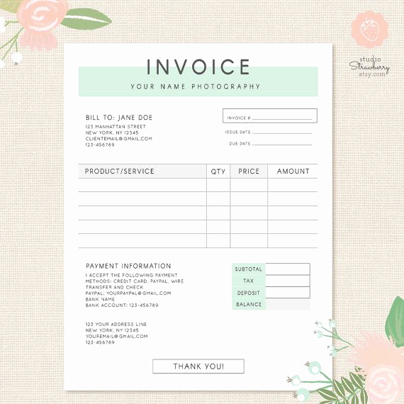 Photography Invoice Template Word New Invoice Template Graphy Invoice Business Invoice