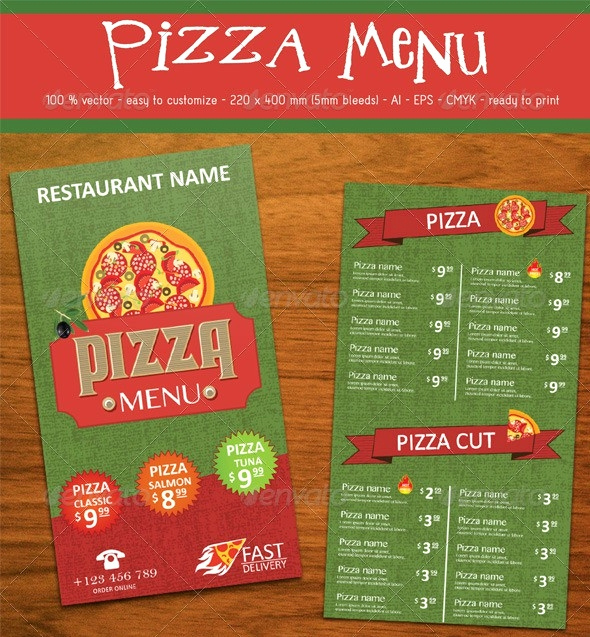 Pizza Menu Template Free Awesome 13 Pizza Menu Templates