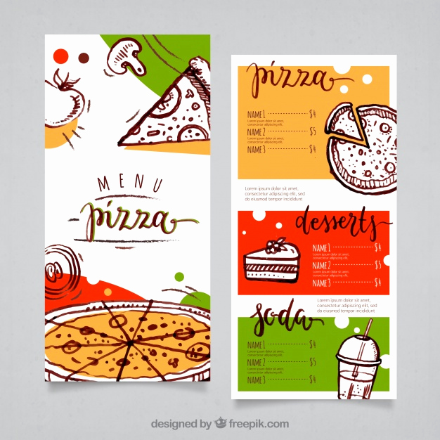 Pizza Menu Template Free Awesome Pizza Menu Template Vector