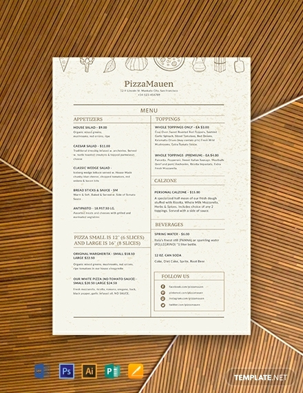 Pizza Menu Template Free Best Of 10 Monthly Menu In Google Docs Illustrator