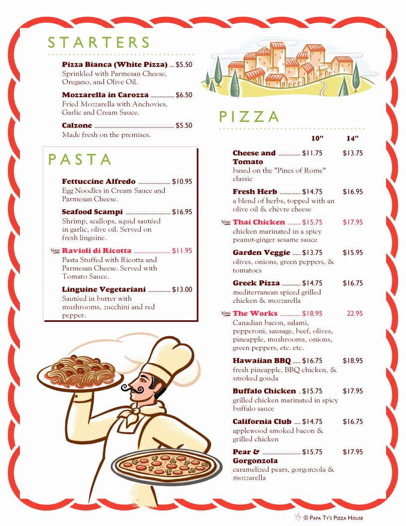 Pizza Menu Template Free Best Of Menupro · Menu Design Samples From Menupro Menu software
