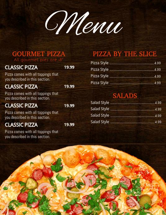 Pizza Menu Template Free Elegant Pizza Menu Template