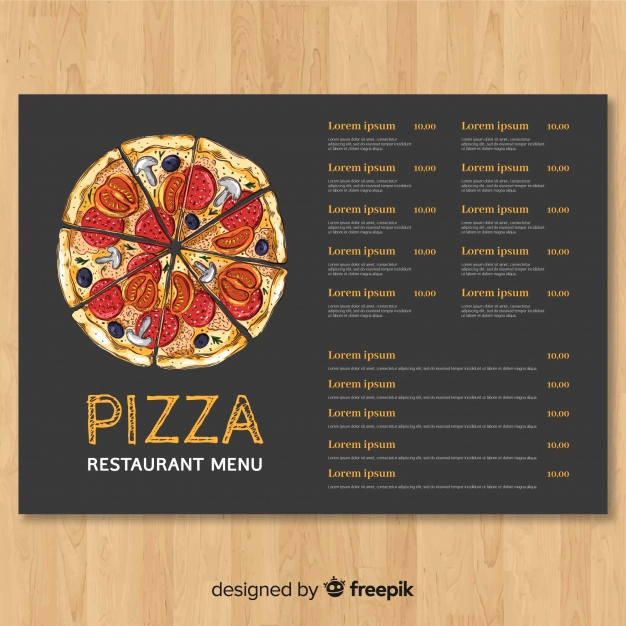 Pizza Menu Template Free Fresh Hand Drawn Pizza Restaurant Menu Template Vector