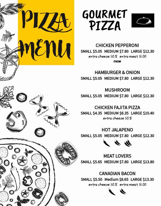 Pizza Menu Template Free Inspirational Copy Of Pizza Menu Card Template