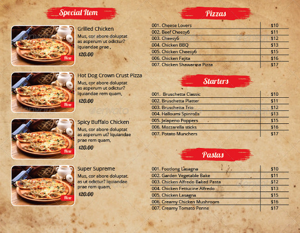 Pizza Menu Template Free Lovely 33 Pizza Menu Templates Free Sample Example format