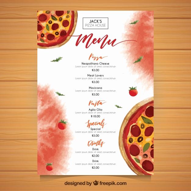 Pizza Menu Template Free Luxury Watercolor Pizza Menu Template Vector