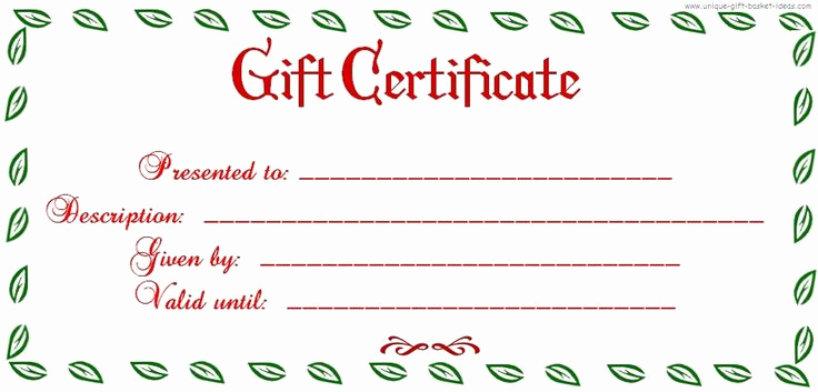 Printable Blank Gift Certificate Template Elegant Free Printable Blank Gift Certificate