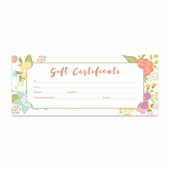 Printable Blank Gift Certificate Template Fresh Floral Gift Certificate Download Flowers Premade Gift