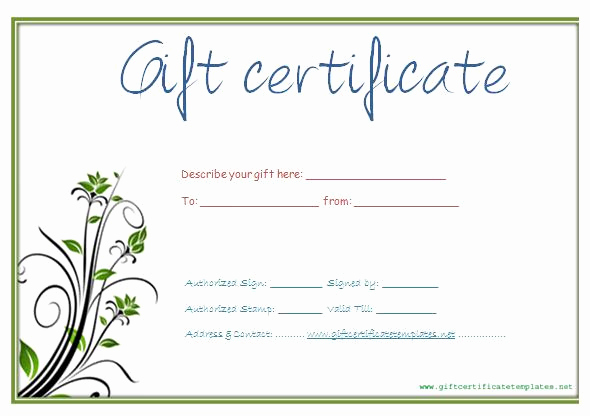 Printable Blank Gift Certificate Template Fresh Gift Certificate Template