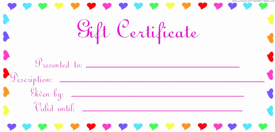 Printable Blank Gift Certificate Template New 28 Cool Printable Gift Certificates