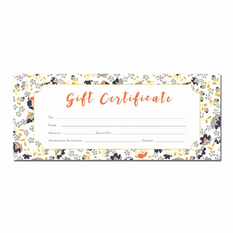Printable Blank Gift Certificate Template Unique Floral Print Blank Gift Certificate Premade Gift