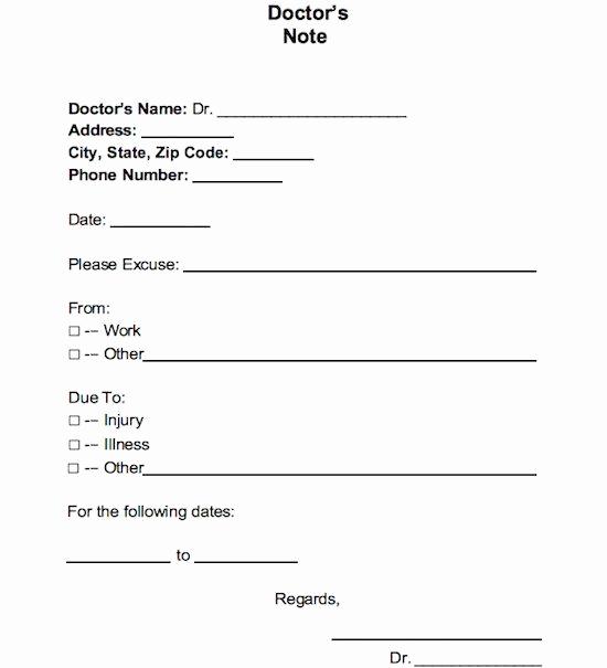 Printable Doctor Note Template Elegant 21 Free Doctor Note Excuse Templates Template Lab In