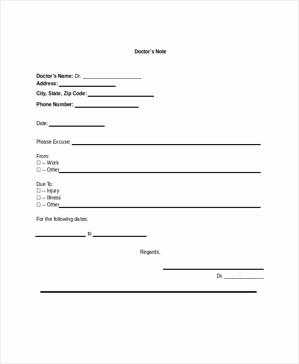 Printable Doctor Note Template Elegant Doctors Note Template 16 Free Word Pdf Psd Documents