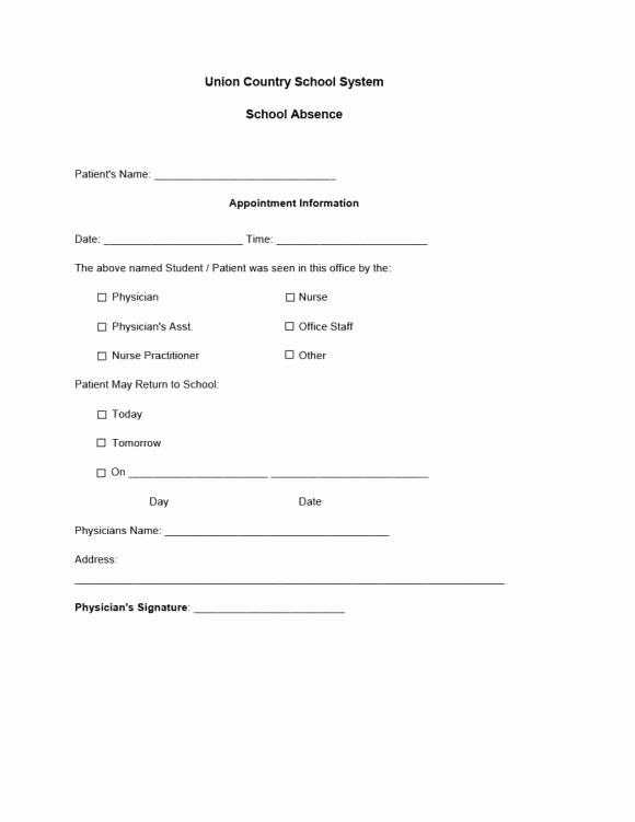Printable Doctor Note Template New Doctors Note Template 03