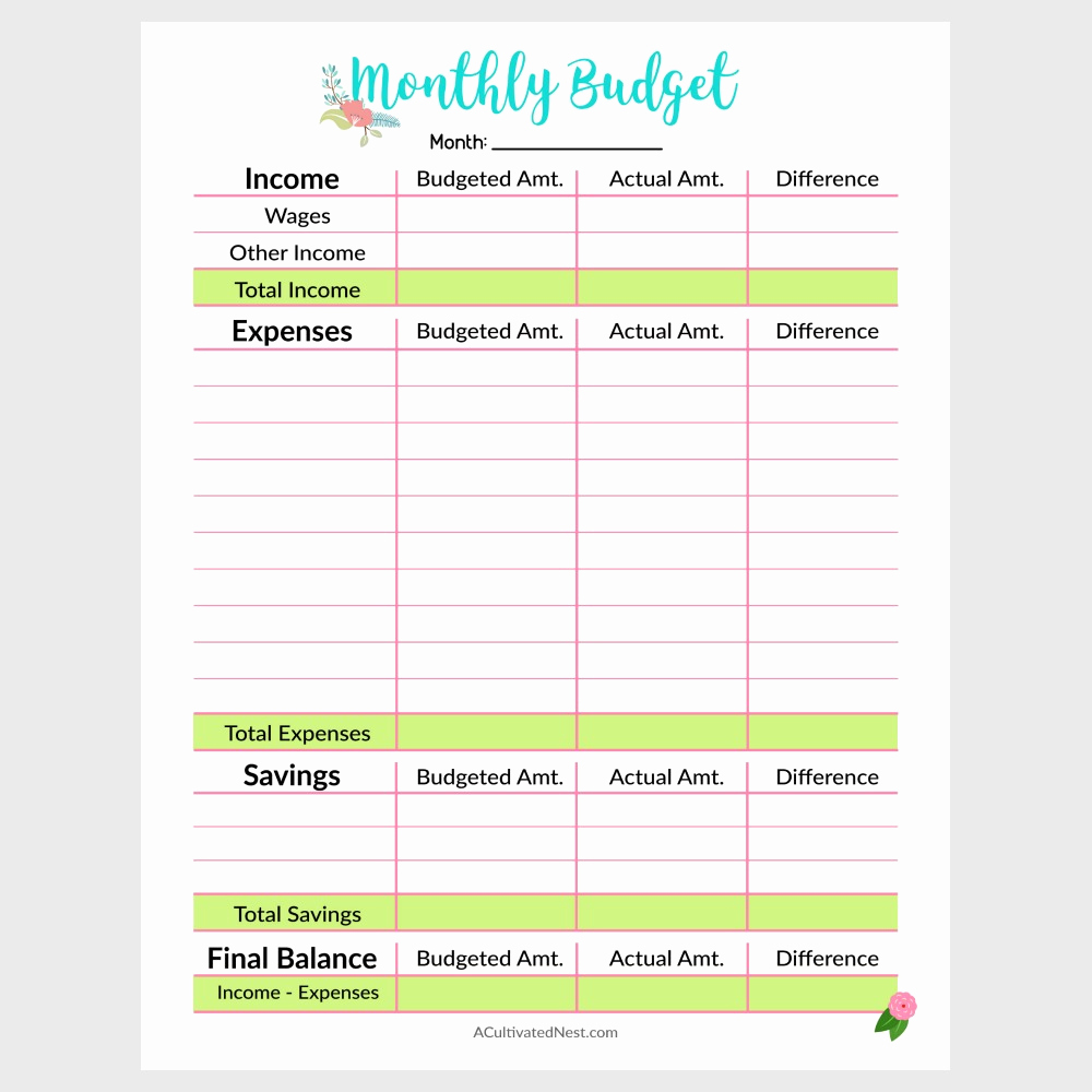 Printable Family Budget Template Beautiful Printable Monthly Bud Template A Cultivated Nest