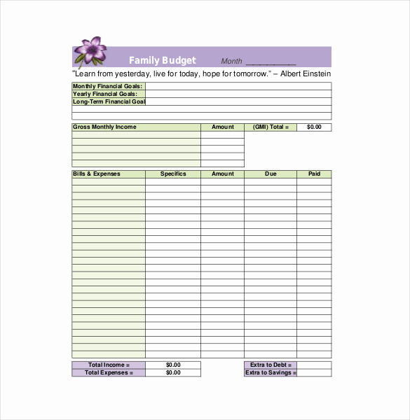 Printable Family Budget Template Best Of 9 Family Bud Templates Free Sample Example format