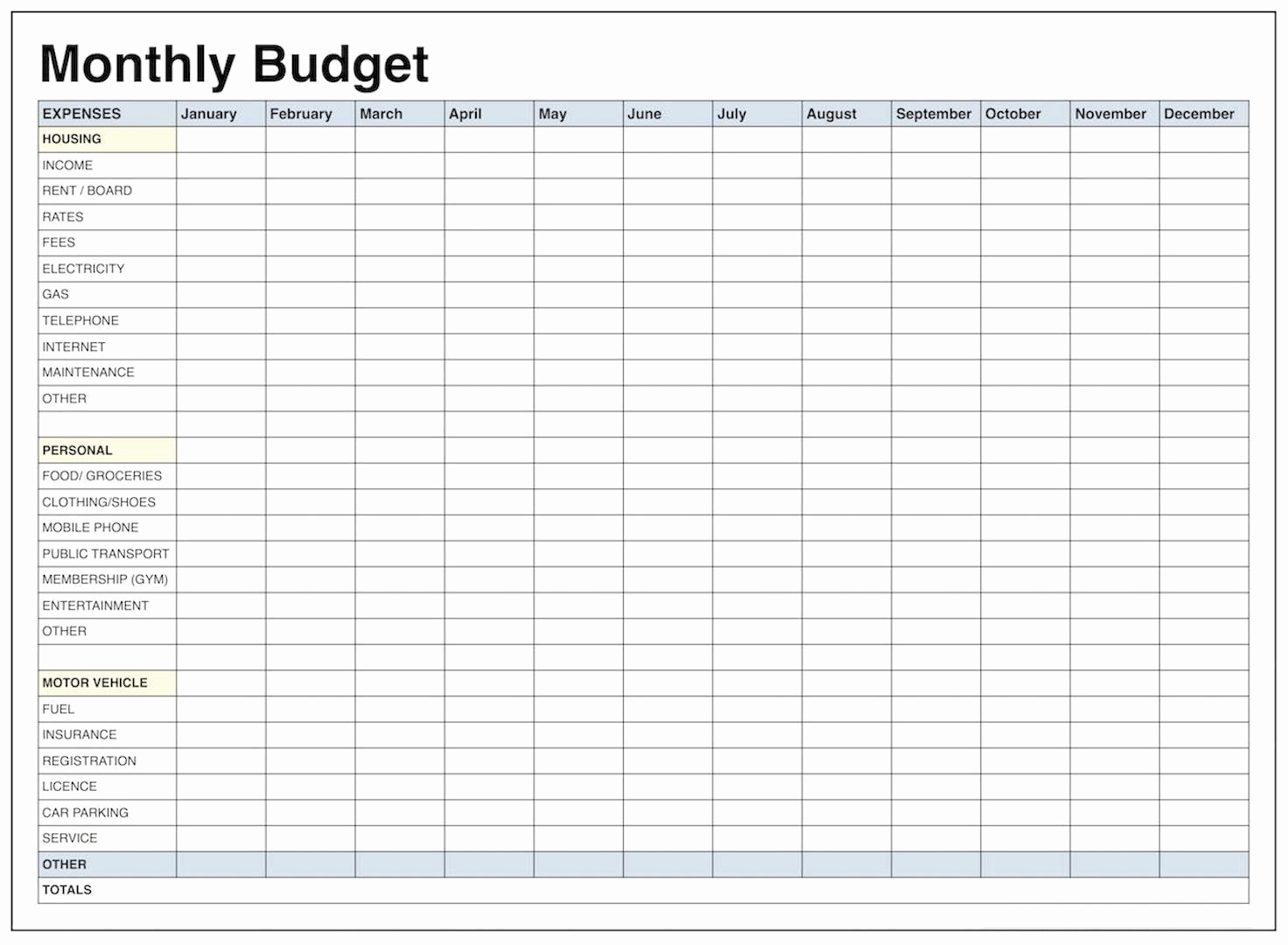 Printable Family Budget Template Elegant Blank Monthly Bud Template Pdf