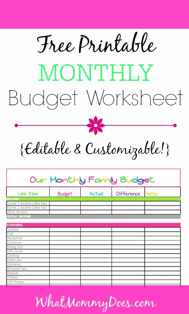 Printable Family Budget Template Elegant Cute Monthly Bud Printable – Free Editable Template
