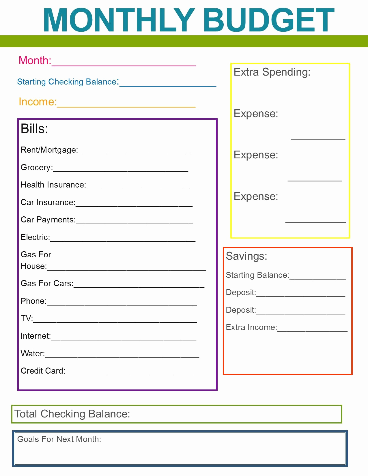 Printable Home Budget Template Awesome Monthly Family Bud Great Habit to Start for the New
