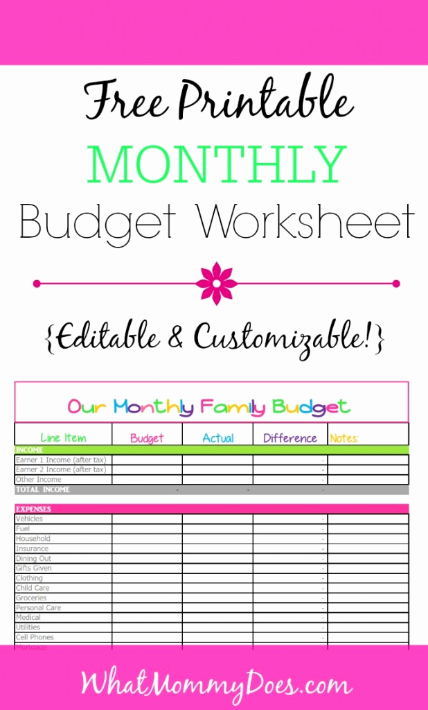 Printable Home Budget Template New Free Monthly Bud Template Cute Design In Excel