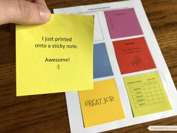Printable Post It Notes Template New Free Printable Sticky Notes Template Color In My Piano
