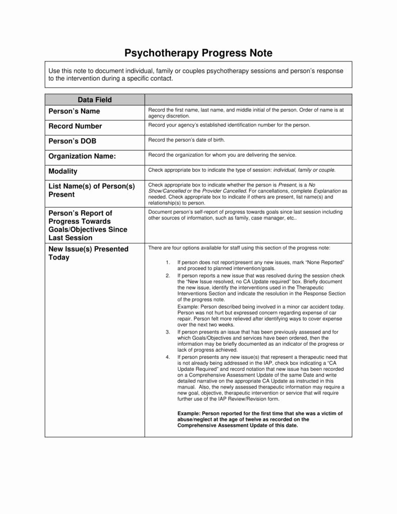 Progress Note Template Pdf Elegant 8 Psychotherapy Note Templates for Good Record Keeping