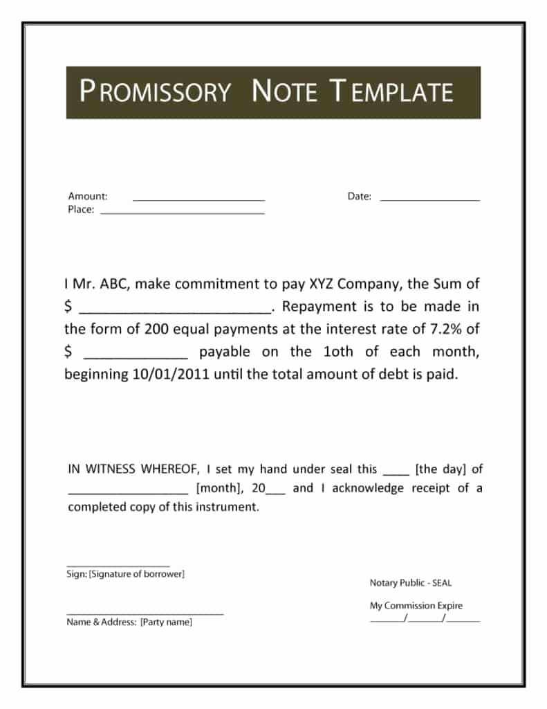 Promissory Note Template Free Awesome 12 Promissory Note Templates Samples In Microsoft Word