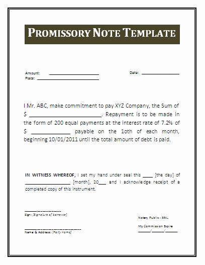 Promissory Note Template Free Best Of Promissory Note form Free Printable Documents