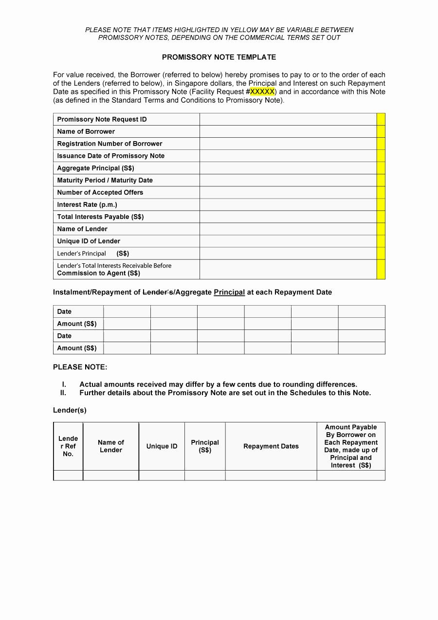 Promissory Note Template Free Download Fresh 45 Free Promissory Note Templates & forms [word & Pdf]