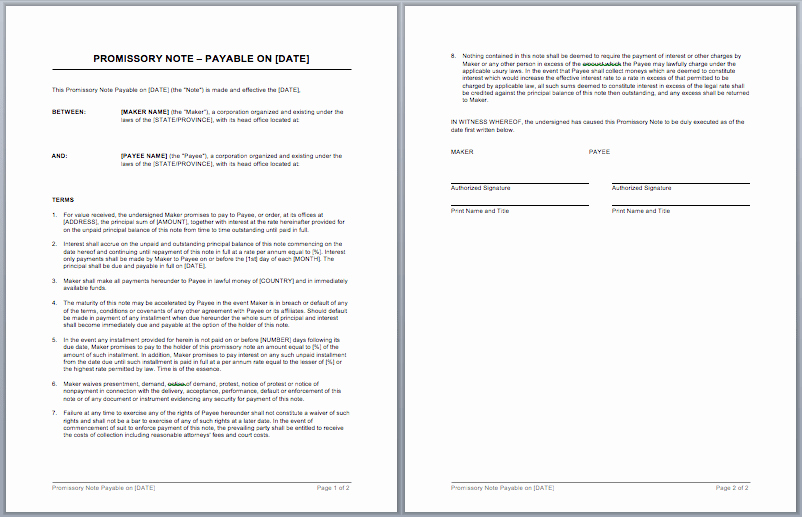 Promissory Note Template Free Download Luxury Promissory Note Template Word Templates for Free Download