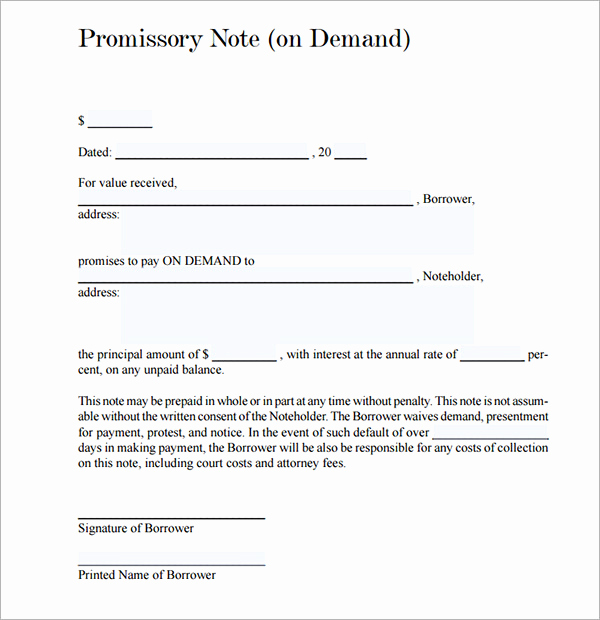 Promissory Note Template Free Luxury Free Promissory Note Template