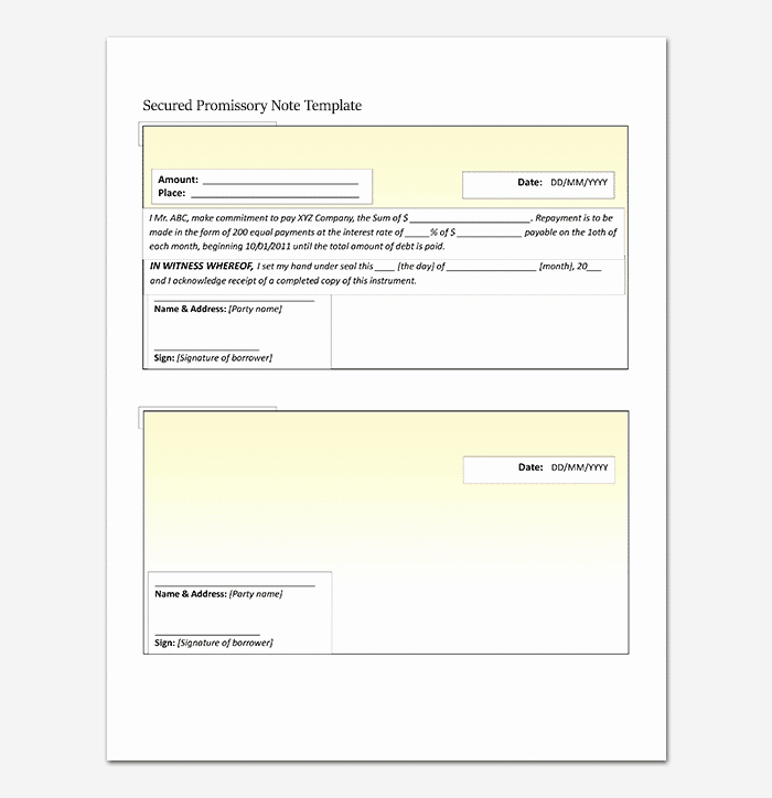 Promissory Note Template Word Best Of Promissory Note Template 20 Free for Word Pdf