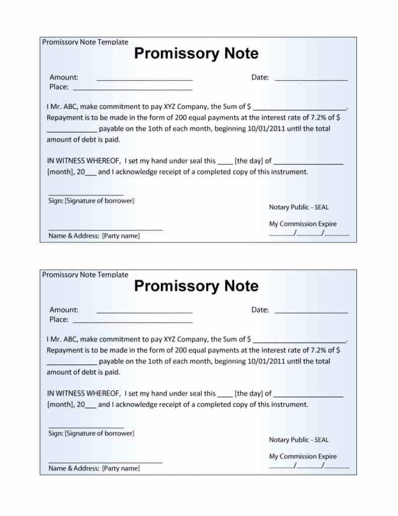 Promissory Note Template Word Fresh 12 Promissory Note Templates Samples In Microsoft Word