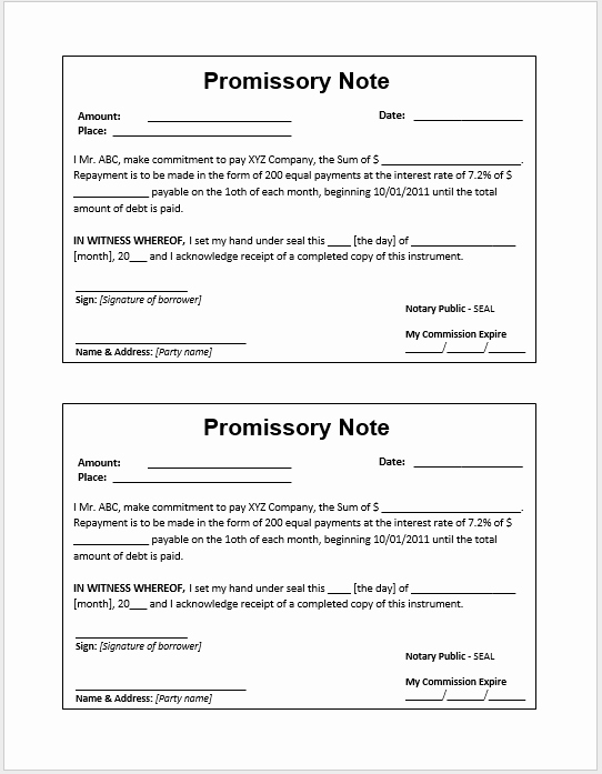 Promissory Note Template Word Fresh 43 Free Promissory Note Samples & Templates Ms Word and