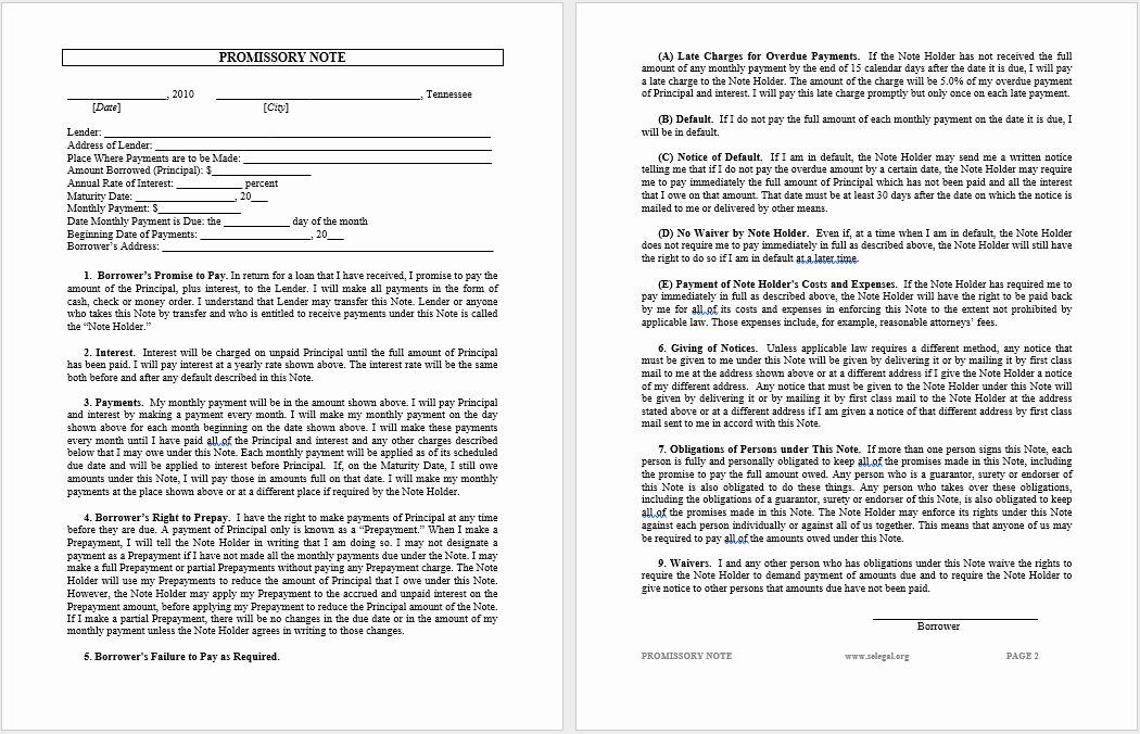 Promissory Note Template Word Lovely 43 Free Promissory Note Samples & Templates Ms Word and