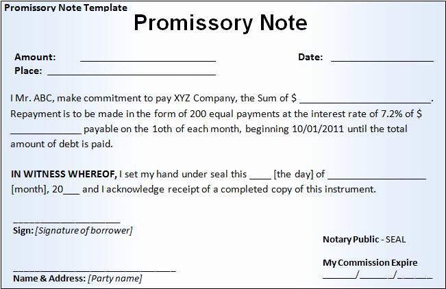Promissory Note Template Word Lovely Promissory Note Template