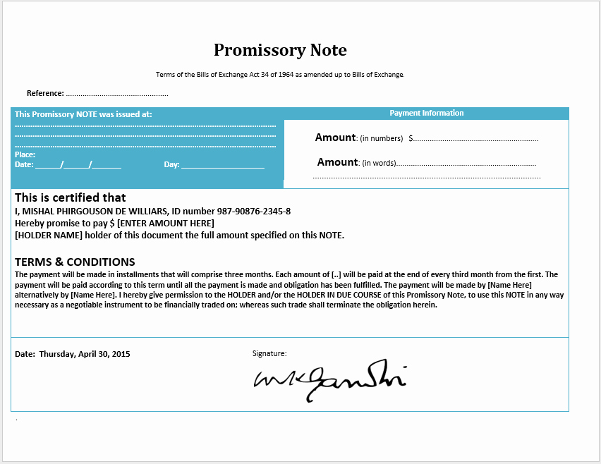 Promissory Note Template Word Luxury 43 Free Promissory Note Samples & Templates Ms Word and