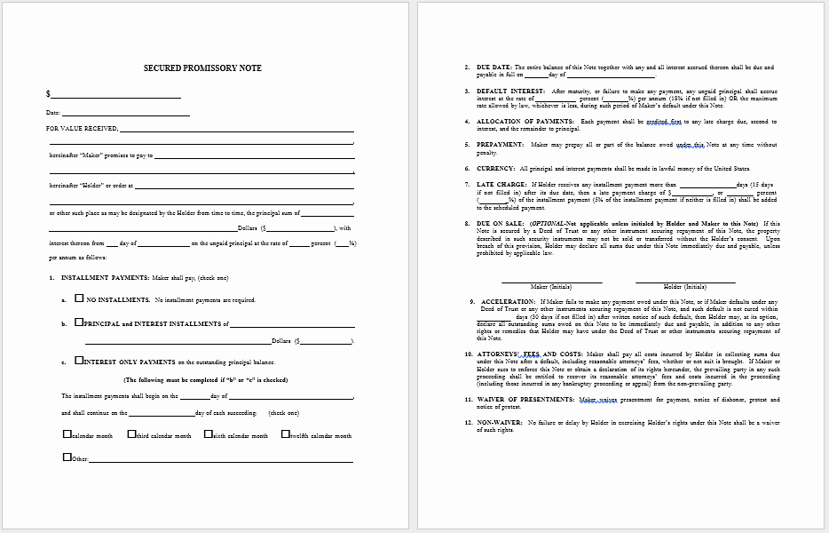 Promissory Note Word Template Awesome 43 Free Promissory Note Samples & Templates Ms Word and